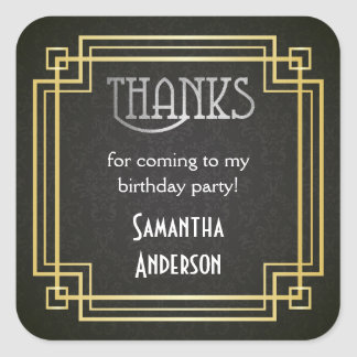 Great Gatsby Stickers, Art Deco Favor Tags Square Sticker