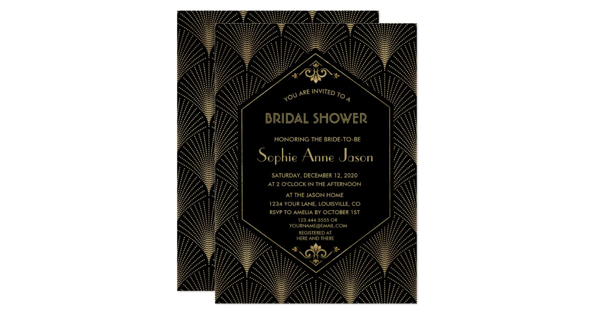Art deco bridal shower invitations choice image coloring pages adult great gatsby vintage art deco bridal shower invite zazzle filmwisefo