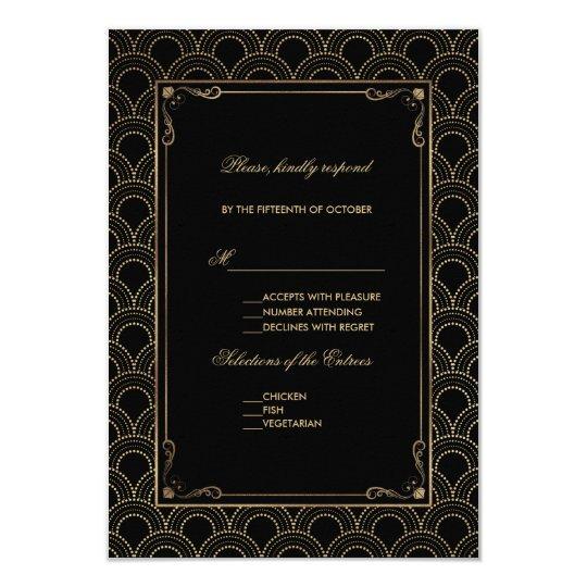 Great Gatsby Vintage Art Deco Wedding RSVP Card