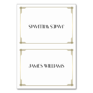 Great Gatsby White Art Deco Place Setting Cards Table Card