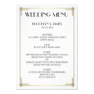 Great Gatsby White Art Deco Wedding Menu Card