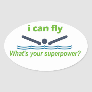 Great gift for the butterfly stroke swimmer! oval sticker