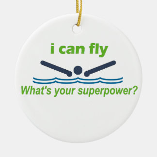 Great gift for the butterfly stroke swimmer! round ceramic decoration
