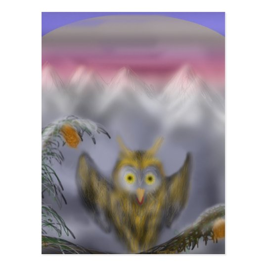 Great golden owl post card