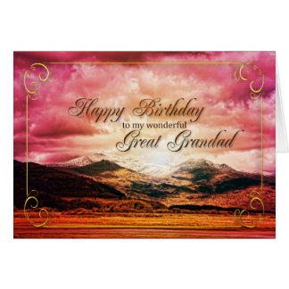 Great Grandad birthday, Sunset over the mountains Card
