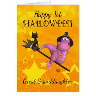 Great Granddaughter 1st Halloween With Cute Little Greeting Card