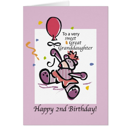 Great Granddaughter 2nd Birthday Bear Balloon Card