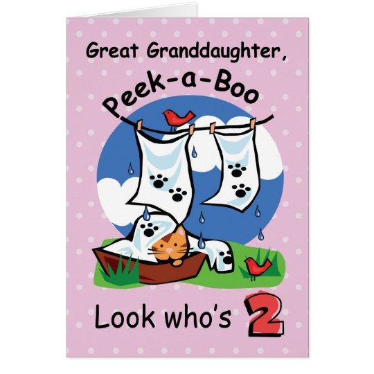 Great Granddaughter 2nd Birthday,Peek-a-Boo Kitten Card