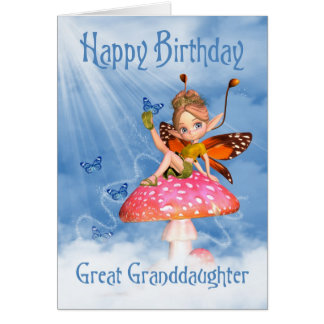 Great Granddaughter Birthday Card - Cute Fairy On