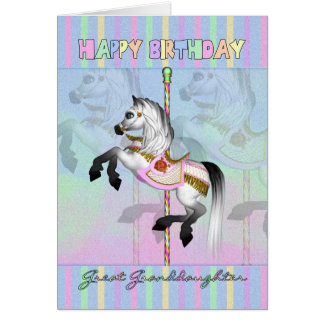 great granddaughter carousel birthday card - paste