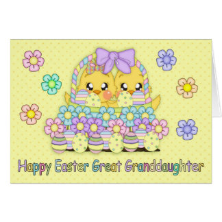 Great Granddaughter Cute Easter Chicks In A Basket Card