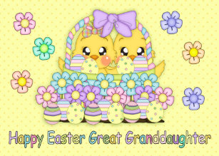 For granddaughters easter gifts gift ideas zazzle uk great granddaughter cute easter chicks in a basket christmas card negle Images