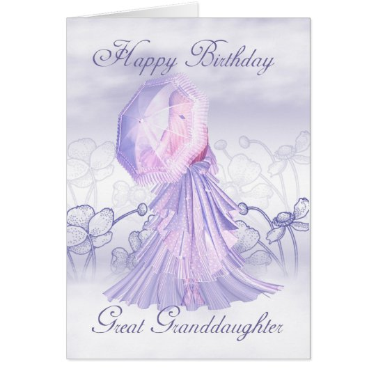 Great Granddaughter Cute Feminine Birthday Card
