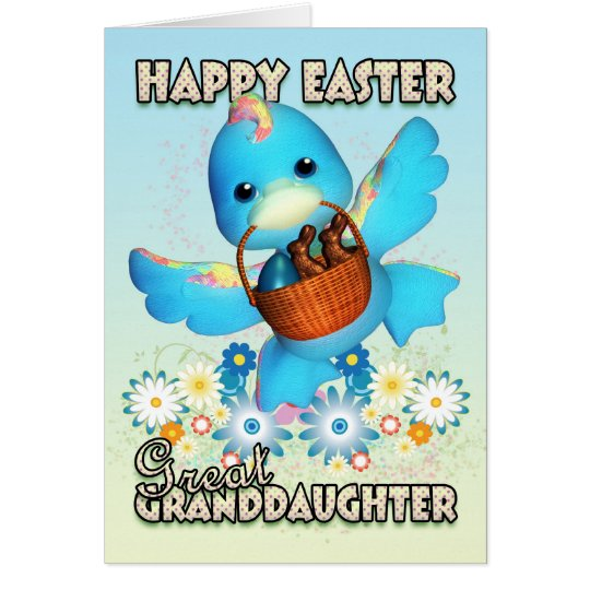 Great Granddaughter Easter Card - Cute Duck With