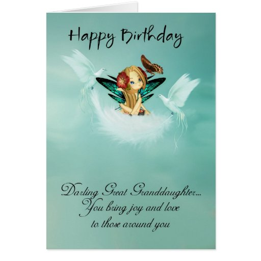 Great Granddaughter Fairy Birthday Card With Doves