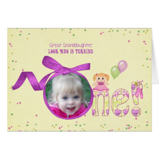 Great Granddaughter first birthday photo card