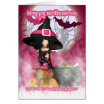 Great Granddaughter Halloween with Girlie Witch in Greeting Card