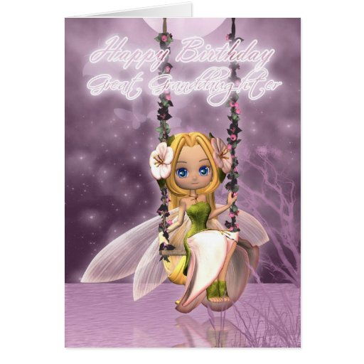 Great Granddaughter Happy Birthday cute fairy on f Greeting Cards