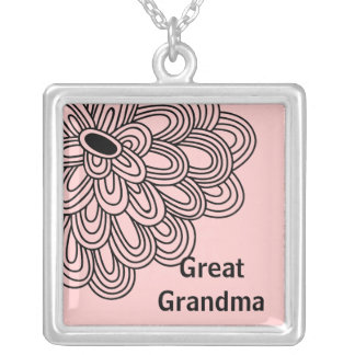 Great Grandma Necklace Trendy Black Flower on Pink
