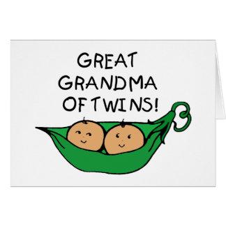 Great Grandma of Twins Pod Greeting Card