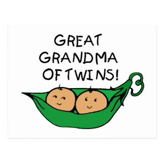 Great Grandma of Twins Pod Postcard