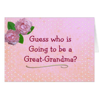 Great Grandma Pink and Polka Dot Announcemen Card