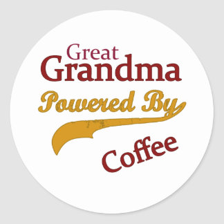 Great Grandma Powered By Coffee Stickers