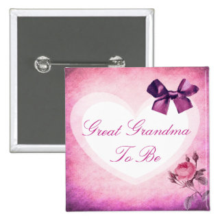 Great Grandma Purple & Pink Baby Shower Button