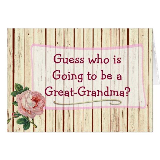 Great Grandma Vintage Rose Baby Announcement Card