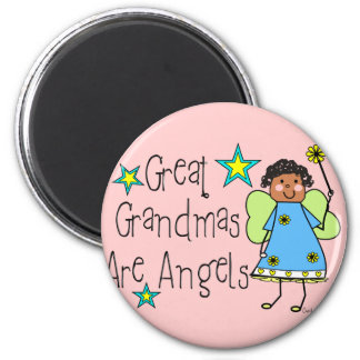 Great Grandmas Are Angels Gifts (Afro-American) 6 Cm Round Magnet