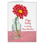 Great Grandma's Birthday Polka Dot Daisy Greeting Card