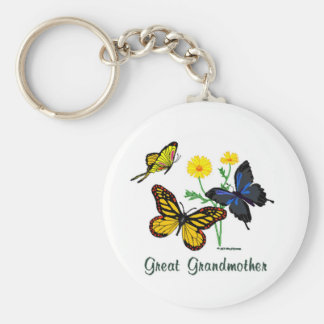 Great Grandmother Butterflies Basic Round Button Key Ring