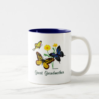 Great Grandmother Butterflies Two-Tone Coffee Mug