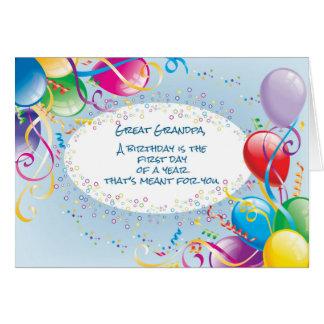 Great Grandpa Birthday Balloons Greeting Card