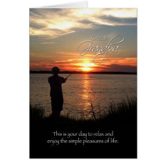 Great-Grandpa Birthday, Sunset Fishing Silhouette Greeting Card