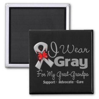 Great Grandpa - Gray Ribbon Awareness Square Magnet