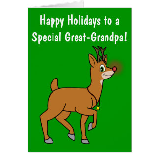 Great-Grandpa Happy Holidays Red-Nosed Reindeer Greeting Card