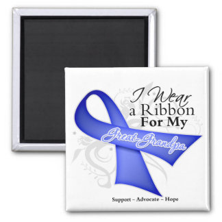 Great-Grandpa Periwinkle Ribbon - Stomach Cancer Square Magnet