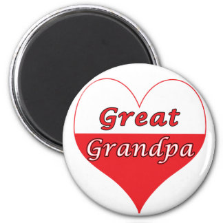 Great Grandpa Polish Heart 6 Cm Round Magnet