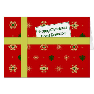 Great Grandpa red Christmas parcel Greeting Card