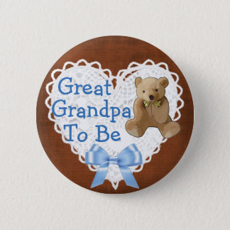 Great Grandpa to be Brown Blue Baby Shower Button