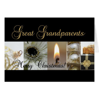 Great Grandparents Christmas black & White & Gold Card