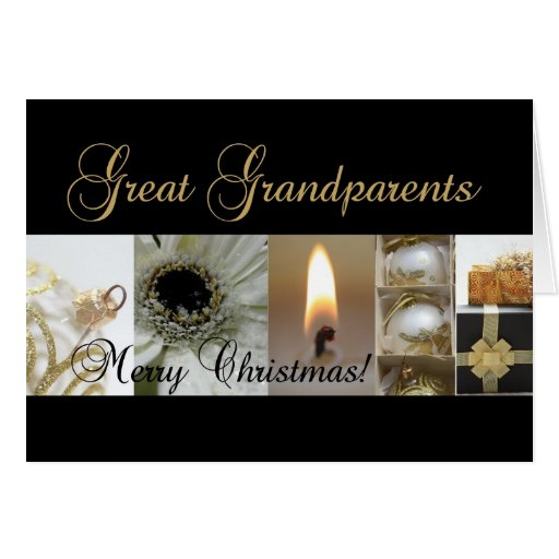 Great Grandparents Christmas black & White & Gold Greeting Card