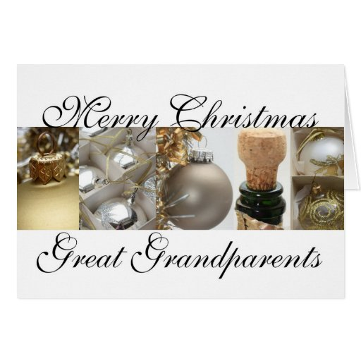 Great Grandparents Christmas black & White & Gold Cards