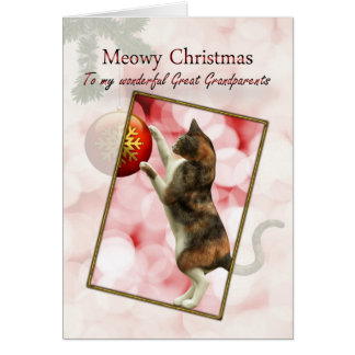 Great-grandparents, Meowy Christmas Greeting Card