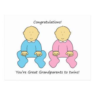 Great Grandparents to twins, congratulations. Postcard
