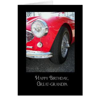 Great-grandpa's birthday-red sports car greeting card