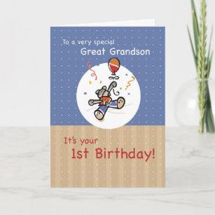 Great Grandson 1st Teddy Bear Balloon Birthday Card