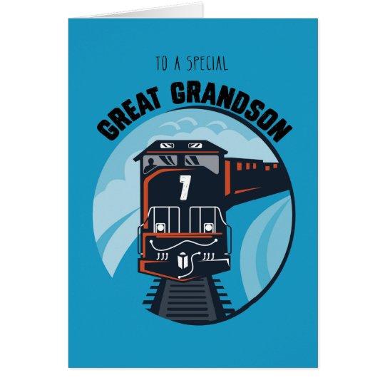 Great Grandson 7th Birthday Train, Little Boy, Blu