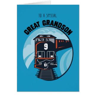 Great Grandson 9th Birthday Train, Little Boy, Blu Card